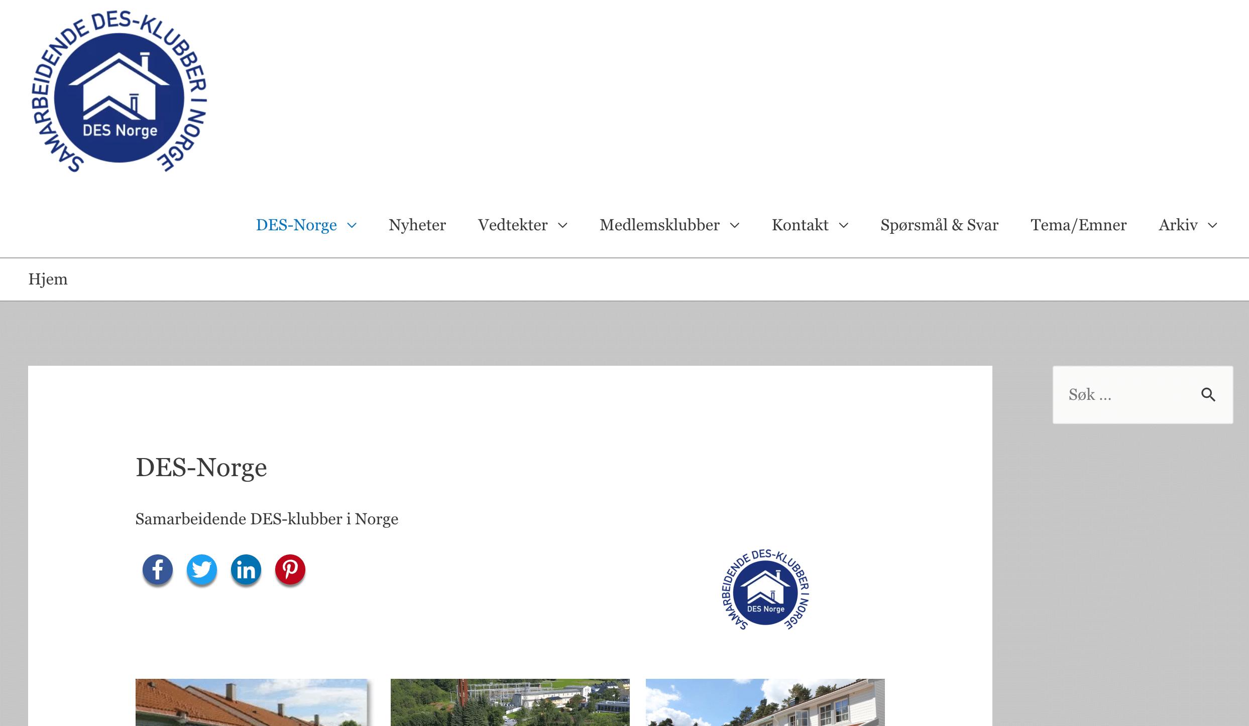 Nye websider for DES Norge